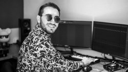 Producer Tommy Glasses in his home studio